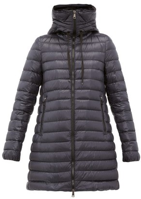 Moncler Logo-applique Quilted-down Hooded Coat - Navy
