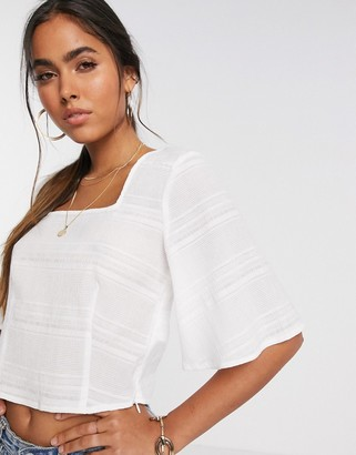 Vero Moda top with square neck and fluted sleeve in white