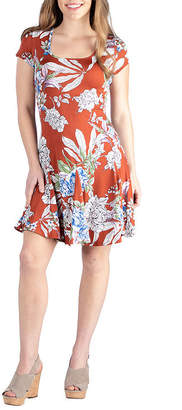 24/7 Comfort Apparel 24/7 Comfort Shortsleeve Floral Dress-Maternity