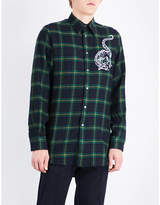 Stella Mccartney Dragon-embroidered tartan regular-fit wool shirt