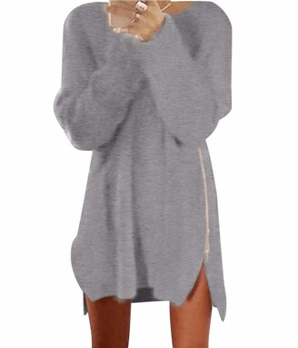 Pengniao Oversized Long Knitted Jumpers for Women Ladies Crew Neck Longline Jumper Dress Womens Chunky Pullover Sweaters Baggy Thick Jumpers Sweater Fluffy Casual Loose Plain Zip Knitwear Winter Grey M