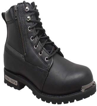 "AdTec Men 6"" Reflective Double Zipper Biker Boot Men Shoes"