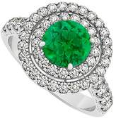 LoveBrightJewelry May Created Emerald and Double Circle CZ April Birthstone Halo Engagement Ring 925 Sterling Silver