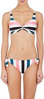 Solid & Striped Women's Jane Striped Microfiber Self-Knot Bikini Top-PINK