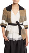 Brunello Cucinelli Open-Front Belted Coated Linen-Silk Cardigan with Metallic
