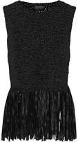A.L.C. Bette Fringed Stretch Crochet-Knit Top