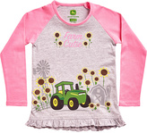 John Deere Gray & Pink 'Farmer Cutie' Raglan Tee - Toddler