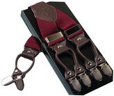 Acme Men's Leather Clip-on Suspenders 6 Clips Elastic Y-Shape Adjustable Braces