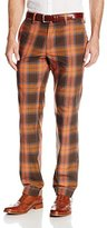 Haggar Men's Vintage Slim Fit Flat Front Blue Plaid Pant