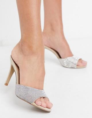 Steve Madden Erin slip on heeled mule sandals in rhinestone