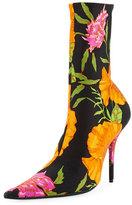 Balenciaga Floral Satin Pointed-Toe Bootie, Noir/Blanc