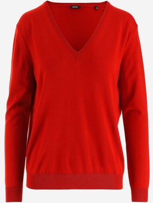 Aspesi Red Wool Women's V-neck Sweater