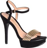 Glamorous Black And Gold Platform Sandals
