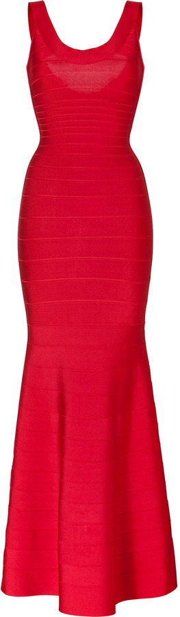 Herve Leger Bandage Gown in Lipstick Red