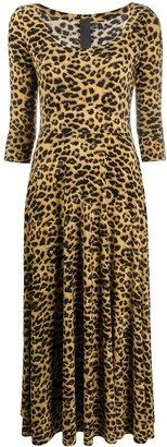Norma Kamali leopard pattern midi dress