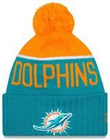New Era Knit Miami Dolphins Blue On Field Game Sideline Sport Knit Winter Stocking Beanie Pom Hat Cap 2015 ...