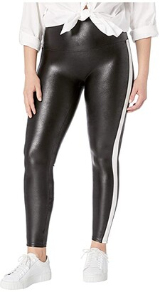 Spanx Plus Size Faux Leather Side Stripe Leggings (Very Black/White) Women's Casual Pants