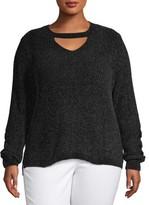 No Boundaries Juniors' Plus Size Chenille Mock Gigi Sweater