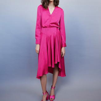 Maje Asymmetrical satin dress