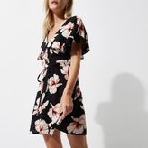 River Island Womens Petite black floral print cape tea dress