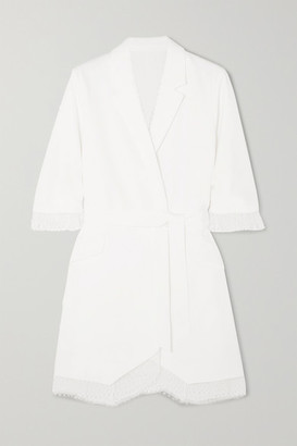 Rime Arodaky Jax Belted Lace-trimmed Crepe Mini Dress