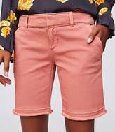 LOFT Petite Frayed Bermuda Shorts