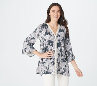 Logo by Lori Goldstein Print Rayon 230 Cardigan with Lace & Ruffles