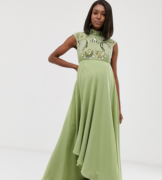 Asos DESIGN Maternity midi dress with mirrored embellished bodice