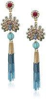 Betsey Johnson Boho Betsey Pave Peacock and Chain Fringe Drop Earrings