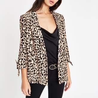 River Island Womens Brown leopard print tie sleeve blazer