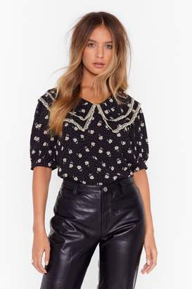 Nasty Gal Womens Floral lace trim collar blouse - black - 4