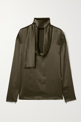 Tom Ford Draped Silk-satin Blouse - Army green