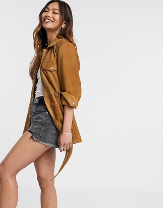 Stradivarius leather overshirt with belt in whiskey