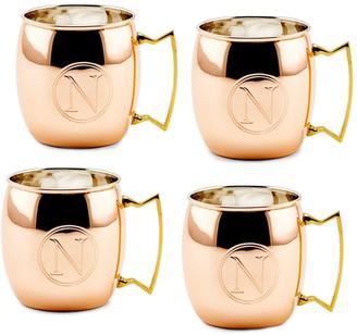Old Dutch Monogrammed N 4-Piece Copper Moscow Mule Mug Set
