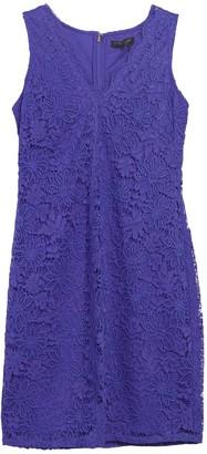 DKNY Scallop V-Neck Lace Dress
