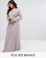 TFNC Plus Wedding Pleated Maxi Dress With Long Sleeves And Lace Inserts With Embellished Waist