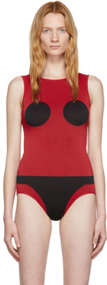 Rudi Gernreich Red and Black Knit Bodysuit
