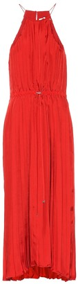Tibi Pleated satin midi dress