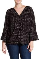 Amy Byer Bell Sleeve Surplice Neck Dotted Blouse (Plus Size)