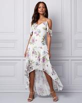 Le Château Floral Chiffon Cold Shoulder Ruffle Dress