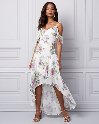 Le Château Floral Chiffon Cold Shoulder Ruffle Dress