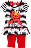 Children's Apparel Network Black Stripe 'Elmo' Top & Red Leggings - Infant