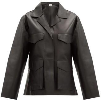 Totême Avignon Patch-pocket Leather Jacket - Black