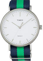 Timex Fairfield 41 Slv Case Blu/Grn Nylon Strap