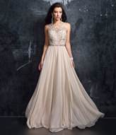 Nude Sheer Illusion Open Back Chiffon Gown