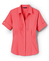 Classic Women's Plus Size Short Sleeve French Cuff Tuxedo Stretch Shirt-Clear Coral