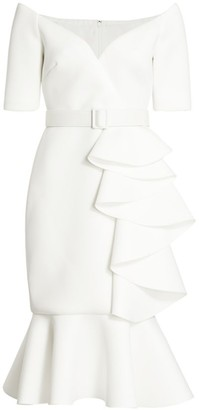 Badgley Mischka Belted Ruffle Dress