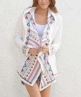 Paparazzi White & Red Embroidered Hooded Open Cardigan