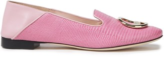 Emilio Pucci Logo-appliqued Lizard-effect And Smooth-leather Loafers