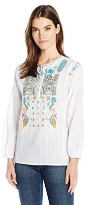 Dylan by True Grit Women's Embroidered Lightweight Long Sleeve Button Tunic Shirt